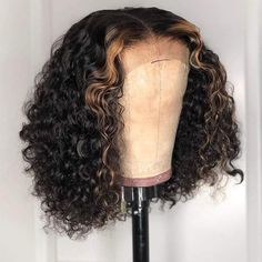 Eye-catching! Natrual Black Ombre Honey Brown Wet And Wavy Bob Lace Frontal Wig - 16 inches