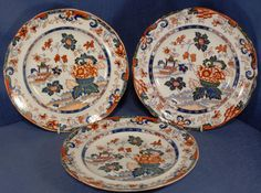 """3 x Antique Charles Meigh Amherst Japan 8.75"""" Plates 1830's"""