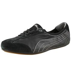 Women's Karlie Leather Ballerina:  A perfect blend of trainer and ballerina: A classic and practical sportlifestyle trainer with laces!    A smooth and flexible leather version of the Karlie.  EcoOrthoLite insole. Breathable and antimicrobial.   100 % leather upper, 100 % rubber sole.  PUMA formstrip and PUMA Cat logo.