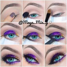 .@maya_mia_y | Gold  Purple Glitter Pictorial 1.Apply primer Urban Decay Primer potion... | Webstagram - the best Instagram viewer