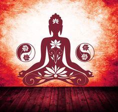 Buddha-Motiv-in-der-Frabe-dunkelrot Yoga Studio Design, Yin Yang, Feng Shui, Lotus, Om Symbol, Yoga Lifestyle, Heart And Mind, Yoga Meditation, Chakra