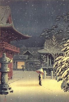 "Japanese Art Print ""Snow at Nezu Shrine (Woman in Snow)"" by Tsuchiya Koitsu, woodblock print reproduction, asian art, cultural art, snowfall - Malerei Kunst Japanese Art Prints, Japanese Artwork, Japanese Painting, Chinese Painting, Japan Illustration, Botanical Illustration, Hokusai, Art Asiatique, Bild Tattoos"