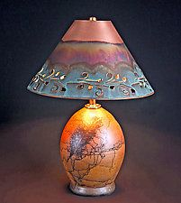"""Horsehair Accent Lamp with Copper Shade by David Gordon (Ceramic Table Lamp) (17"""" x 12"""")"""