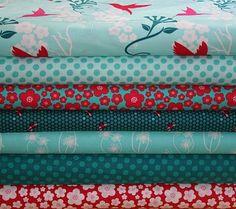 Pretty fabrics red & aqua color palette