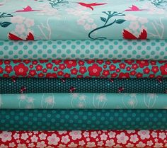Pretty fabrics red & aqua color palette