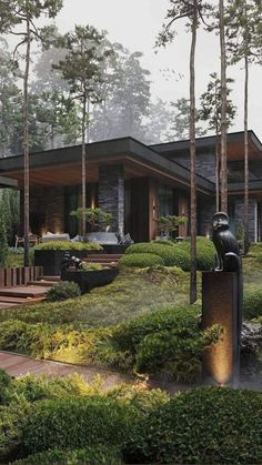 Modern Architecture House, Modern House Design, Interior Architecture, Modern House Exteriors, Modern Wood House, Modern Glass House, Japanese Modern House, Modern Houses, Norwegian House