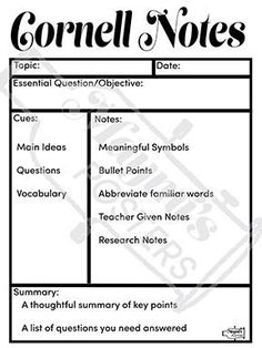 Free Cornell Note Paper  Cornell Notes Intro To Cornell Style