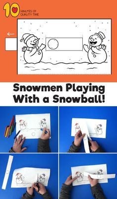 Snowmen Playing With a Snowball - Weihnachten Easy Arts And Crafts, Crafts To Do, Diy Crafts For Kids, Paper Crafts, Fox Crafts, Snowman Crafts, Winter Crafts For Kids, Winter Kids, Drawing For Kids