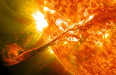 A solar filament erupts, from NASA/apod, July 2014.