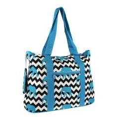 "21""  Turquoise Elephant Design Tote Bag"