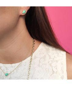 Hazel Stud Earrings in Mint - Kendra Scott Jewelry.