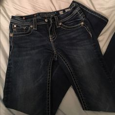 Kids miss me jeans These miss Me's are in great shape. The size is for kids, size 14, which is about one size smaller than a juniors size 0, or similar to 00. All of the sequins, beading, buttons are in great condition. Miss Me Jeans Boot Cut