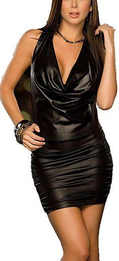 3b1f6479f2 Rozegaga Womens Sexy Cowl Neck Strappy Back Wet Look Mini Party Club Dress  Black Fashion Trends