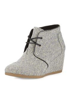 Metallic Linen Desert Wedge Boot, Black/Gold