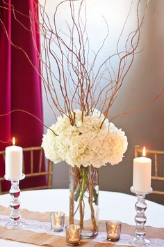 Curly Willow and Hydrangea Centerpiece- DIY Wedding centerpiece with fresh flowers and willow