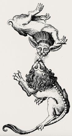 Master E. – Fantastic Alphabet - litera z Medieval Drawings, Medieval Art, Medieval Tattoo, Antique Illustration, Illustration Art, Illustrations, Dessin Old School, Gravure Illustration, Bild Tattoos