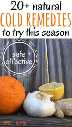 """Home remedies for cold including citrus fruit, garlic, ginger, honey, and essential oils against a wooden backdrop with text overlay reading, """"Natural Cold Remedies to try this season."""" Homemade Cold Remedies, Cold Remedies Fast, Natural Cold Remedies, Cough Remedies, Holistic Remedies, Herbal Remedies, Health Remedies, Home Remedies For Cold, Sleep Remedies"""