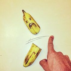 Chicago-based artist Alex Solis creates simple drawings that turn into awesome finished pieces with the incorporation of his own hands and/or other ordinary objects, like potato chips or fruit. He brings his drawings to life by appearing to interact with them.
