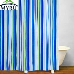 >> Click to Buy << MYRU Bathroom waterproof polyester shower curtain blue striped shower curtains modern shower curtains for bathroom #Affiliate