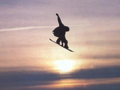 Snowboarding into the sunset!
