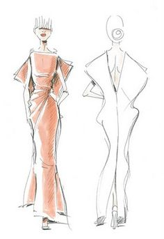 """Rodolfo Paglialunga's - sketch - Vionnet - Eclectic Jewelry and Fashion: Designers Vying to Dress """"The Ladies of Cannes"""""""