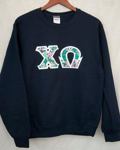 Navy Sweatshirt With Lilly Print On White by UniversityShop, $24.98