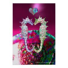 SEAHORSES IN LOVE AND PINK FUCHSIA BLUE MOTHER OF PEARL Original Digital Art Print by Bulgan Lumini (c)