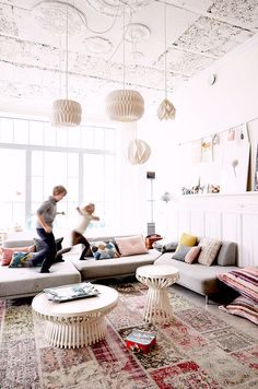 15 Chic Family-Friendly Living Rooms to Inspire You via @MyDomaine