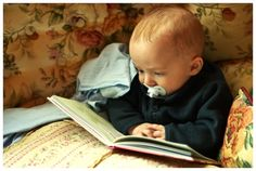 It' never too soon to instill a love for books and reading! So sweet! I Love Books, Good Books, Books To Read, My Books, Library Books, Kids Reading Books, Love Reading, Storybook Cottage, Book People