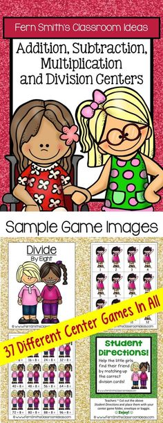 #FREE Preview has one complete center to try in your classroom. THIRTY-SEVEN Quick and Easy to Prep Addition, Subtraction, Multiplication and Division Center Games with a Cute Back to School Kid Theme! Mix and Match the Center Games for an enormous variety of levels to differentiate for your students' different needs in your classroom each year! #TPT $Paid