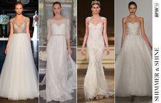 Wenn Sie über die Tanzfläche wirbeln, fängt sich das Licht in Pailletten, Perlen und Kristallen und lässt ihr Kleid glitzern. Glitzrige Verzierungen waren ein beliebtes Thema auf den Shows dieser Saison.