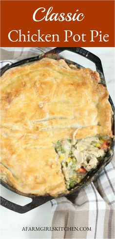 Homemade Chicken Pot Pie is a double flaky pie crust filled with shredded chicken chopped onions carrots peas in a creamy sauce. For this chicken pot pie recipe Ive used a homemade pie crust and baked in a cast iron skillet. Chicken Pot Pie Crust, Chicken Pot Pie Casserole, Best Chicken Pot Pie, Skillet Chicken, Chicken Potpie Recipes, Shredded Chicken Casserole, Healthy Chicken Pot Pie, Hamburger Casserole, Cheesy Chicken