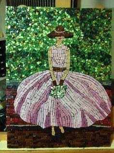 Woman In Pink Dress Wall Art, Handmade Mosaic Art, via Etsy.