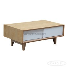 Porter Modern Coffee Table /Media TV Cabinet, Natural Ash Wood |