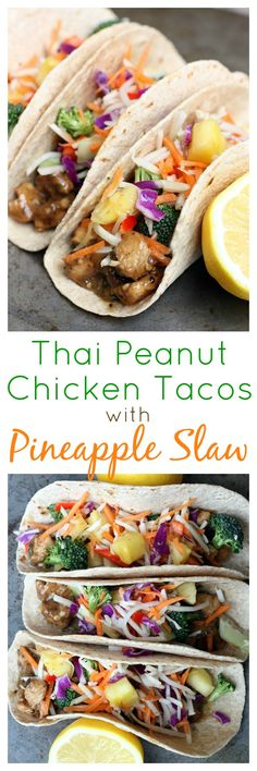 Thai Peanut Chicken Tacos with Pineapple Slaw on MyRecipeMagic.com. Swap soy for coconut aminos and Change brown sugar.