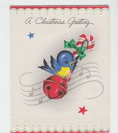 Vintage Bluebird With Candycane and Bell Music Christmas Greeting Card