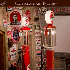 Vintage signs and fully restored gas pumps