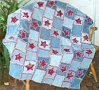 Denim rag quilt  I think this would make a fabulous picnic quilt. Thick & heavy, to be sure,but perfect for damp grass or sandy beaches.