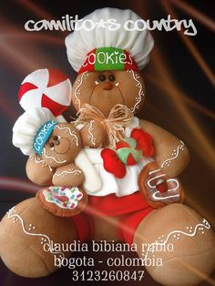 GENGIBRE MARIANITA Gingerbread Crafts, Christmas Gingerbread, Gingerbread Cookies, Felt Ornaments, Christmas Ornaments, Christmas Decorations, Holiday Decor, Candyland, Merry