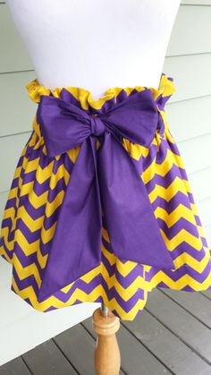 """Women's boutique gameday skirt """"The Derby Skirt"""" in yellow & purple chevron with a purple sash, LSU tigers custom made by Collyn Raye"""