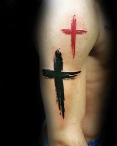 Red And Black Ink Paint Brush Stroke Simple Cross Mens Arm Tattoos
