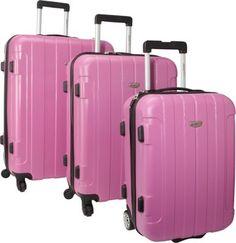 Traveler's Choice Rome 3-Piece Hardshell Spinner/Rolling Luggage Set Pink - via eBags.com! #PickPink