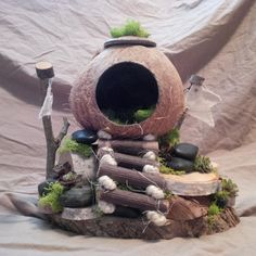 OOAK Fairy House: Coconut Vacation House by BirchTreeFairyHouses on Etsy