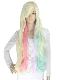 Long Wavy Multi-Color Capless Cosplay Wig$39.99