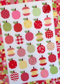 Apple-licious quilt pattern by Lori Holt. Want to make this to use as tablecloth. Think I will turn the apples in varying directions so it looks nice from all directions.