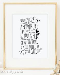 Gilmore Girls Where You Lead Theme Song Inspirational Art. Carole King song lyrics Doodles Typographic Print. Wall Art. Love Print. BFF gift