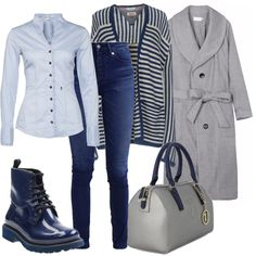 f7a6b21a601e Cappotto grigio melange, collo a scialle, tasche applicate, bottoni e  cintura in vita
