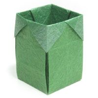 origami trash box.  This site has instructions for many types of origami boxes.