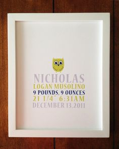 Nursery Art  ANNOUNCEMENT OWL 8 x 10 by WillowTreeandMe on Etsy, $18.00