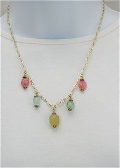 Pink blue yellow chalcedony necklace on gold chain,                     five drops on gold chain, gemsto ne necklace, gold chain